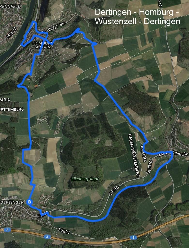 Wanderweg Dertingen - Homburg - Wüstenzell - Dertingen