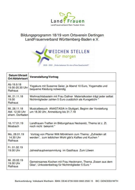 Bildungsprogramm 18/19 vom Ortsverein Dertingen