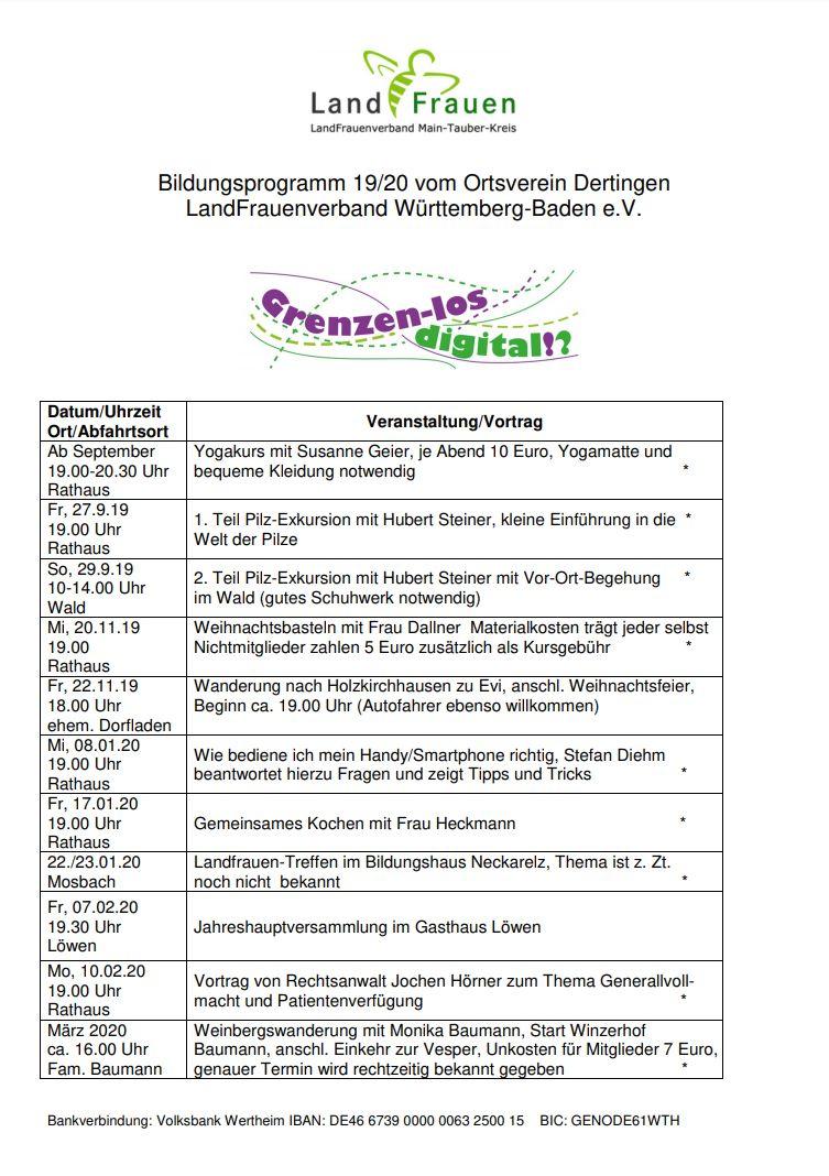 Bildungsprogramm 2019/20 vom Ortsverein Dertingen