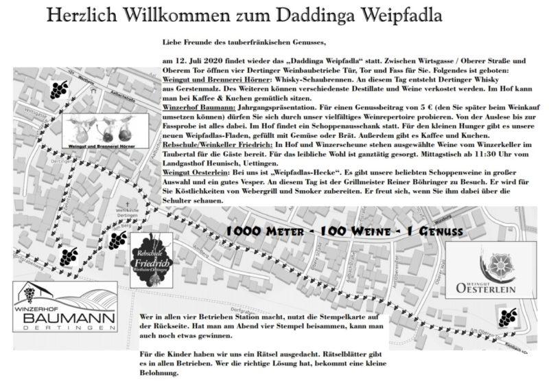 Daddinga Weipfadla am 12. Juli 2020 - Flyer Seite 1