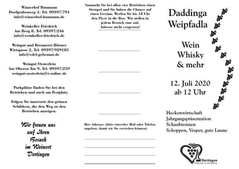 Daddinga Weipfadla am 12. Juli 2020 - Flyer Seite 2